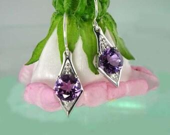 Amethyst Earrings, February Birthstone Earrings, Amethyst Dangle Earrings, Silver Amethyst Earrings, Purple Amethyst Earrings