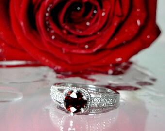 Garnet Ring, Garnet and White Topaz Ring, Antique Sterling Silver Ring, Red Garnet Sterling Silver Ring