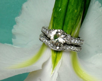 Herkimer Diamond engagement Ring Sterling Silver Matching Band