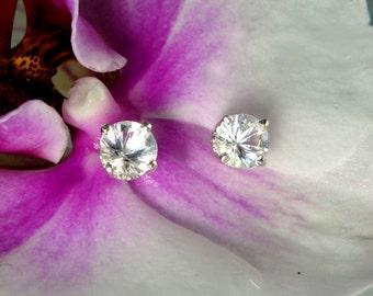 Herkimer Diamond Earrings, Herkimer Diamond, Crystal Earrings, Sterling silver Stud Earrings, Natural Gemstone Jewelry, Gift for Her