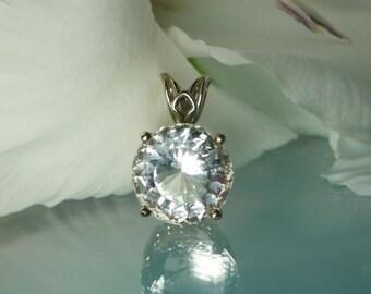 Eco Friendly Jewelry, Bridal Jewelry, Natural Gemstone Pendant, Herkimer Diamond, 14k Gold Pendant, White Gemstone Pendant, Gemstone Pendant