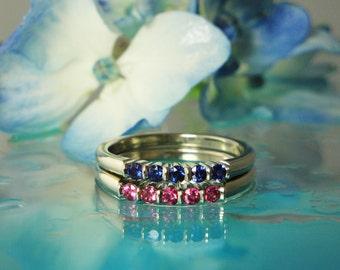 Stackable Gold Ring Set, Stackable Ring Set, Natural Sapphire Ring Set, Gold Stackable Ring Set