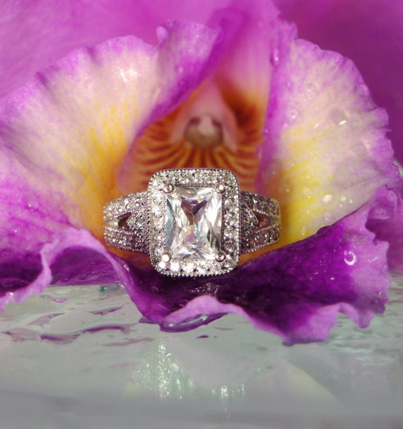 Herkimer Diamond Ring  Emerald Cut Sterling Silver Beautifully Detailed Design
