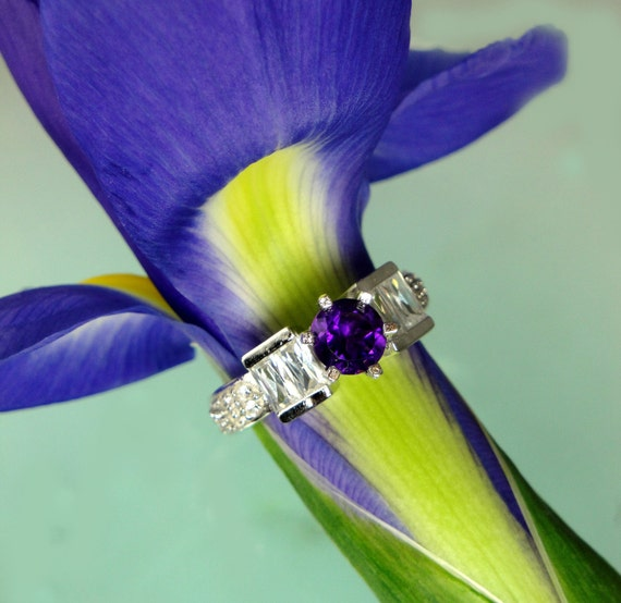 Amethyst Ring White Topaz and Sterling Silver
