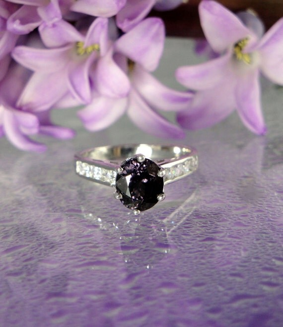 Deep Purple Grape Colored Rich Natural Spinel And White Topaz Sterling Silver Ring by green gem