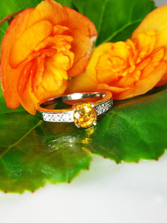 Amazing Natural Citrine  and White Topaz  Sterling Silver Antique Style Ring