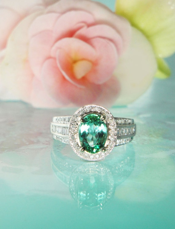 Reserved Please Do Not Purchase Paraiba Tourmaline Ring 14K Gold and VSI Diamond Ring Rare One of a Kind Antique Style