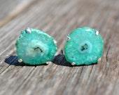 Green Solar Quartz Sterling Silver Earrings