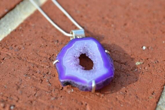 OVER HALF OFF Purple Geode Slice Sterling Silver Necklace