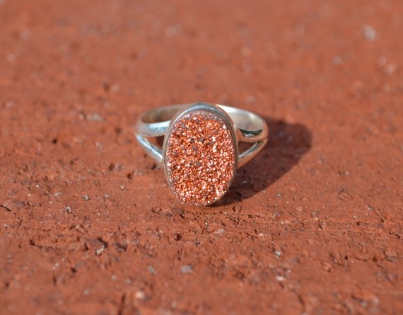 ON SALE Copper Druzy Sterling Silver Statement Ring Size 8