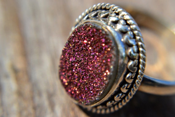 ON SALE Ruby Red Druzy Sterling Silver Statement Ring Any Size
