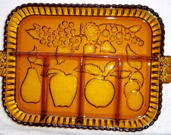 Vintage Amber Relish Tray