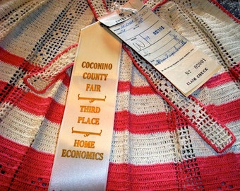 Award Winning Vintage Crocheted Pink and Cream Chidren's Apron