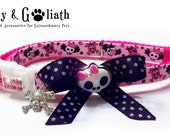 Cat Collar Pink Skulls w Bow & Pink Crystals - Safety - FREE CHARM