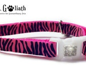Cat Collar Pink Zebra with Rhinestones - Safety Collar