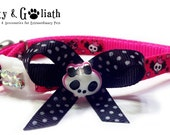 Cat Collar Fuschia Skulls with AB Rhinestones - Safety Collar