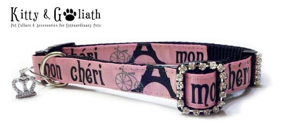 Mon Cheri Dog Collar with Rhinestones -- Free Charm