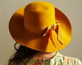 floppy MUSTARD YELLOW hat with grosgrain ribbon