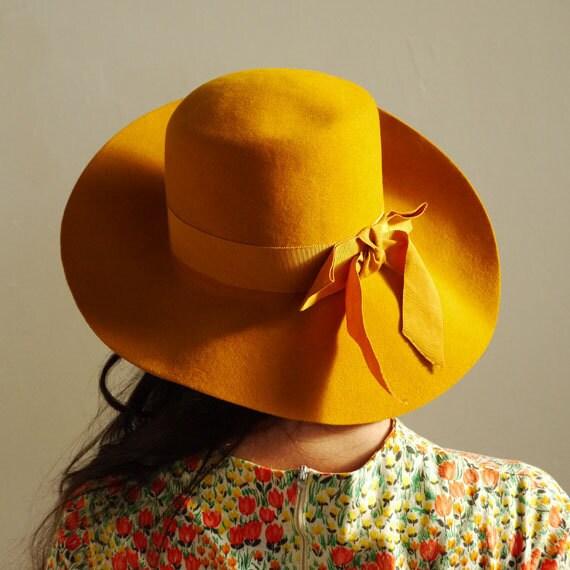 floppy MUSTARD YELLOW hat with grosgrain ribbon