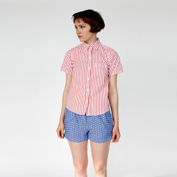 striped button up tee Canoeing Red and white