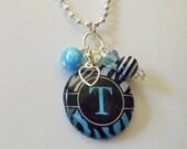 Sweet Zebra Initial Pendant in Blue - glass tile pendant charm necklace - Girl Tween Teen Gift Present Christmas Stocking Stuffer