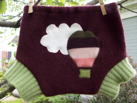 Up Up And Away Hot Air Balloon Applique Recycled Wool Sweater Shorties Diaper Cover Soaker