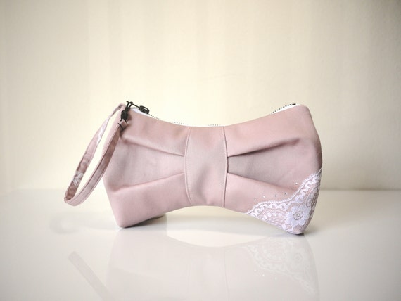 3D Bow Wristlet in Pink- White Lace and Swarovski Crystals Bride Clutch Wedding Bag/ Gift for Her