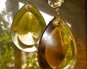 SALE -- Fantastic gold amber Glass Chandelier Crystal Prisms- Large