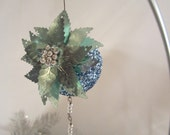 Vintage Blue Poinsettia Sparkly Beaded Ornament