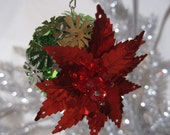 Retro Red Poinsettia Sequin Ornament