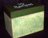 Wooden Recipe Box - Green Paisley - Handcrafted - Personalized - Wedding Gift - Shower Gift - Keepsake Box