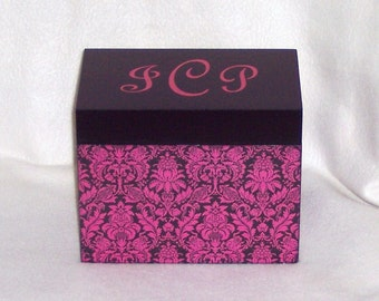Recipe Box, Hot Pink Damask Wooden Recipe Box - 4 X 6 or 5 X 7 Personalized Recipe Box - Keepsake Box - Trinket Box