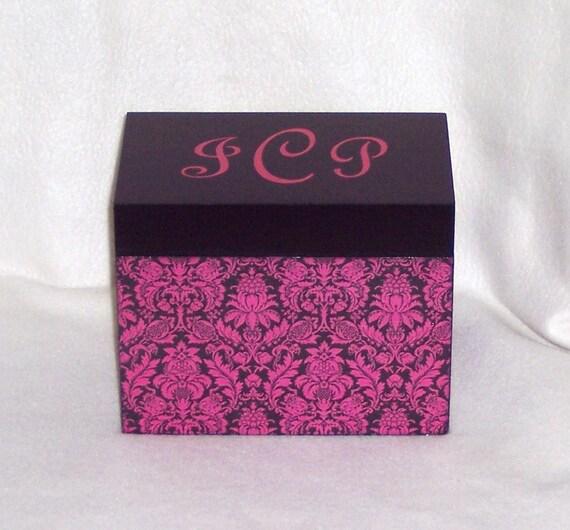 Recipe Box, Hot Pink Damask Wooden Recipe Box - Personalized Recipe Box - Keepsake Box - Trinket Box