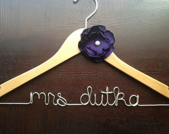 Hanger, Personalized Hanger, Engagement Gift, Wedding Photo Prop, Wedding Dress Hanger, Eggplant Wedding