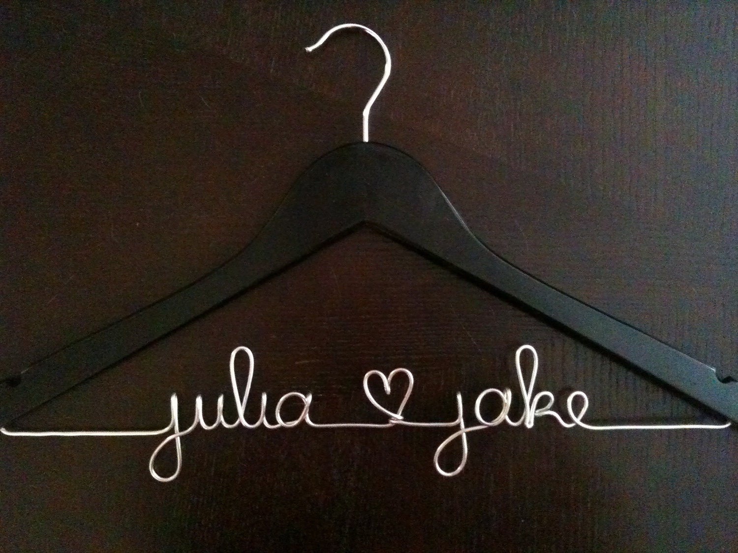 Custom wedding dress hanger black by handcraftedaffairs on for Personalised wedding dress hanger