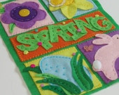 Spring is in the Air, Embroidered Felt Wall Hanging / Door Decor