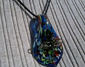 Green dragonfly on blue Venetian Glass, Pendant on 18-inch satin cord