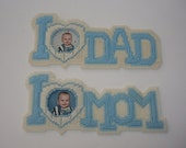 Loving Mom and Dad Frames, Plastic Canvas, Light Blue, Set of 2