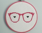 Wayfarer Glasses, Nerd Love, Hot Pink Modern Cross Stitch Hoop Art