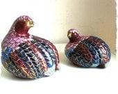 Vintage Herend Style- Ceramic Quail Pair -Romantic Wedding Gift