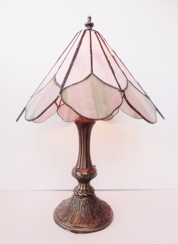 Vintage Tiffany Style Stained Glass Lamp Light Pink And