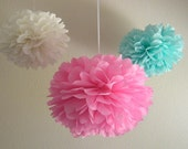 7 Pom Poms - Pink and Aqua Shabby Chic Tissue Paper Pom-Poms with Ribbons - More Colors Available