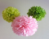 Cherry Blossom Tissue Paper Pom-Poms - 3 Pom Poms - More Colors Available - Pink & Green