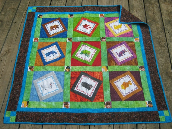 FREE SHIPPING in US Brown Bear, Brown Bear Homemade Quilt