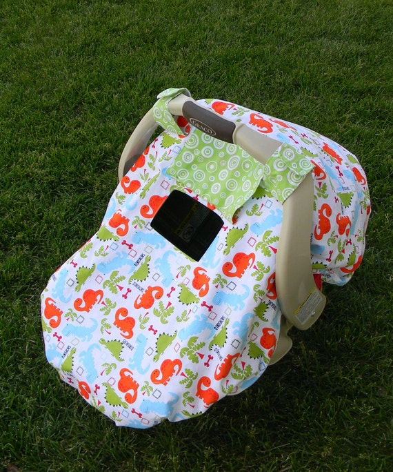 Dino Infant Car Seat Cover...Car Seat Canopy...Car Seat Tent