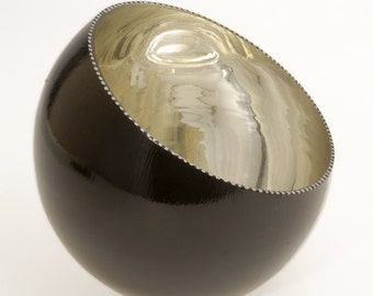 Hand-gilded White Gold & Black Glass Slant Bowl, Verre Eglomisé, Reverse Gilded and Painted on Glass, White Gold and Black Glass Bowl