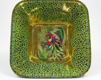 Gold and Green Parrots Glass Bowl, Verre Eglomisé, Reverse Painting and Gilding on Glass, Square Glass Bowl, Home Decor