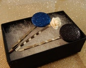 White Rose CABOCHON and Black Blue Glitter Dot BOBBY PIN or hair pin set of three silver colored in gift box