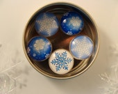 BLUE SNOWFLAKE MAGNET glass set of five 1 inch round with rare earth neodymium magnet