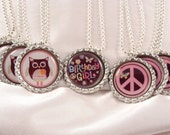 PARTY FAVOR Owl Peace Sign Bottlecap Birthday NECKLACE with individual organza bags and silver ball chain
